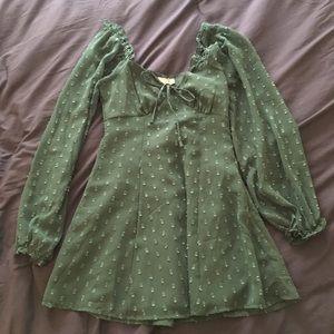 ASOS Long Sleeve puff sleeve green dotted dress